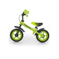 """Detské cykloodrážadlo Milly Mally Dragon s brzdou 10"""" - zelené"""