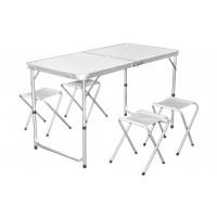 InGarden Skladací turistický stôl s nastaviteľnou výškou so stoličkami - 120 cm