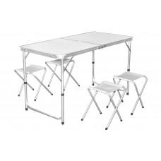 InGarden Skladací turistický stôl s nastaviteľnou výškou so stoličkami - 120 cm Preview