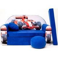 Detská pohovka Auto F1 modrá