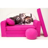 Detská pohovka Mačičky - ružová