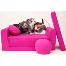 Detská pohovka Mačičky - ružová Preview