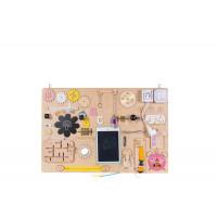 Edukačná tabuľa pre deti 75 x 50 cm MT11 - naturálna/žltá