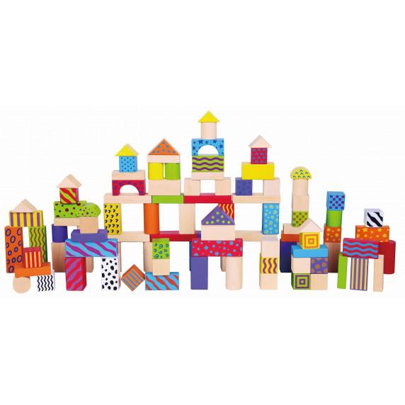Inlea4Fun drevené farebné tvary s rôznymi vzormi 100 kusov