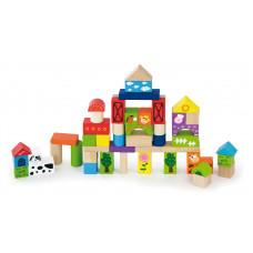 Inlea4Fun drevené kocky s rôznymi vzormi 50 kusov - Farma Preview