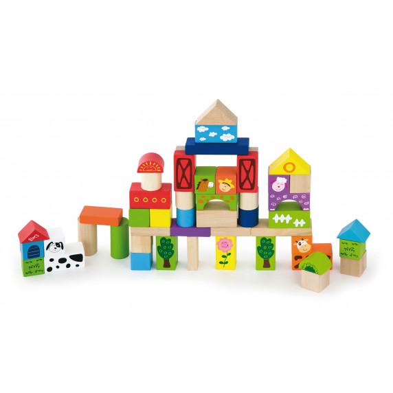 Inlea4Fun drevené kocky s rôznymi vzormi 50 kusov - Farma
