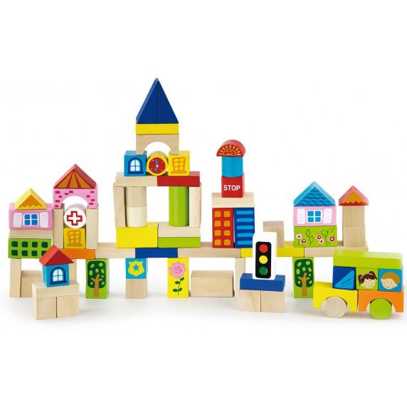 Drevené  farebné tvary Inlea4Fun 75 kusov - City set