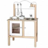 Inlea4Fun detská drevená kuchynka biela s doplnkami
