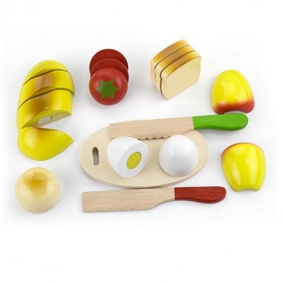 Drevený raňajkový box s potravinami na krájanie Inlea4Fun 56219