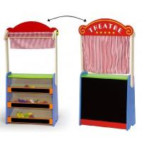 Inlea4Fun drevené bábkové divadlo a obchod s potravinami 2v1