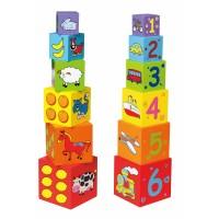 Inlea4Fun drevené stavebné kocky s číslicami a obrázkami