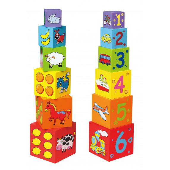 Ddrevené stavebné kocky s číslicami a obrázkami Inlea4Fun 59461