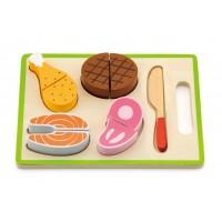 Inlea4Fun drevené mäso na krájanie s príslušenstvom - 50980