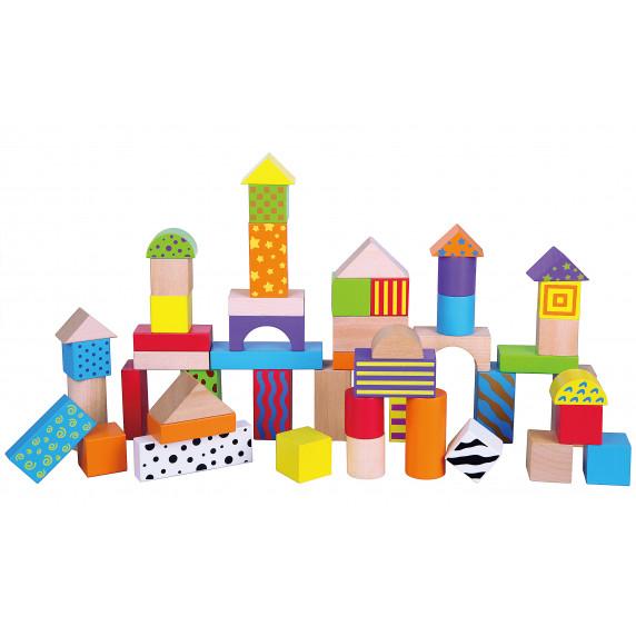 Inlea4Fun drevené farebné tvary s rôznymi vzormi 50 kusov