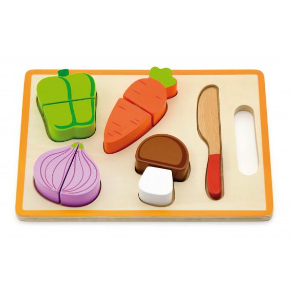 Inlea4Fun drevená zelenina na krájanie s príslušenstvom - 50979