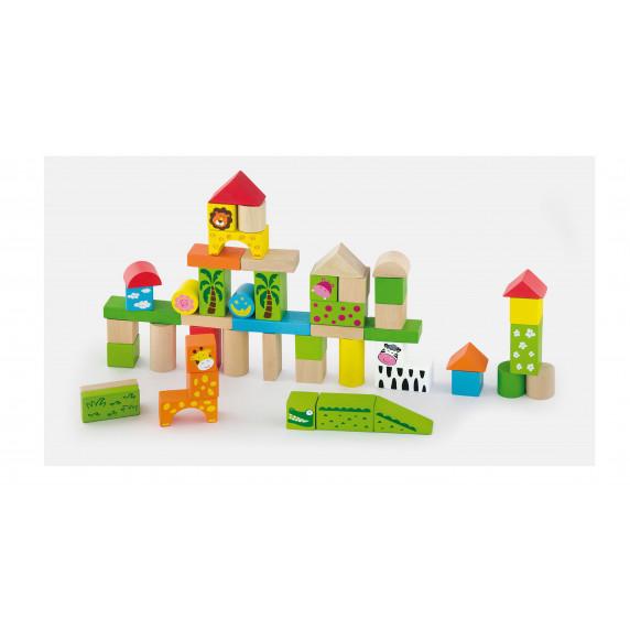 Drevené tvary v rôznych farbách Inlea4Fun 50 kusov - Zoo set