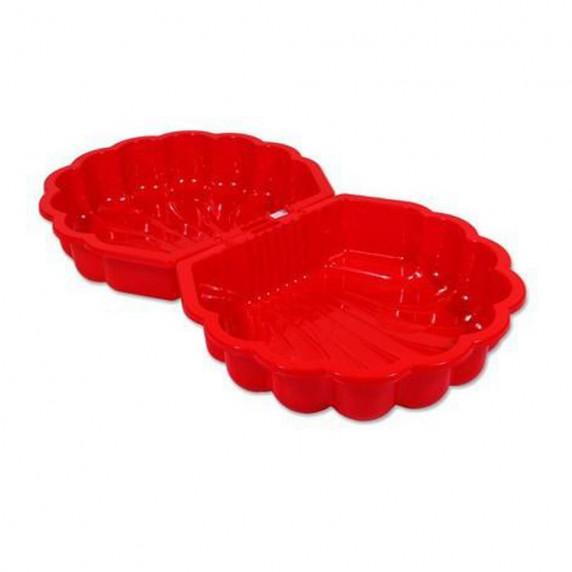 Inlea4Fun dvojstranné pieskovisko v tvare mušle - Červené