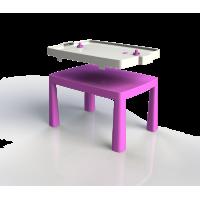 Umelohmotný stolík pre deti so vzdušným hokejom Inlea4Fun EMMA - ružový