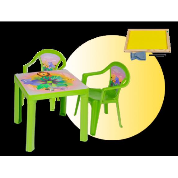 Inlea4Fun set - 2 stoličky + 1 stolík + dvojstranná drevená tabuľa