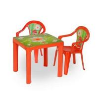 2 stoličky + 1 stolík  - červená Inlea4Fun