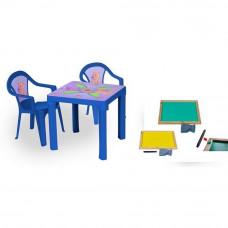 Inlea4Fun set - 2 stoličky + 1 stolík + dvojstranná drevená tabuľa - Modrá Preview