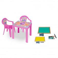 Inlea4Fun set - 2 stoličky + 1 stolík + dvojstranná drevená tabuľa - Ružová Preview