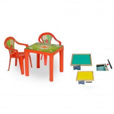 Inlea4Fun set - 2 stoličky + 1 stolík + dvojstranná drevená tabuľa - Červená Preview