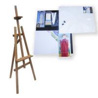 Maliarsky stojan sada 180 cm Inlea4Fun S180-3 - hnedý