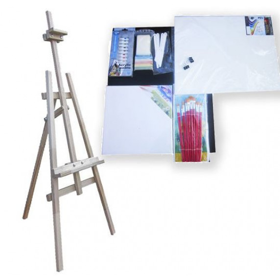 Maliarsky stojan sada 180 cm Inlea4Fun S180-3 - naturálny