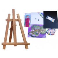 Maliarsky stojan stolový sada Inlea4Fun S60 WYP2 TEAK - hnedý