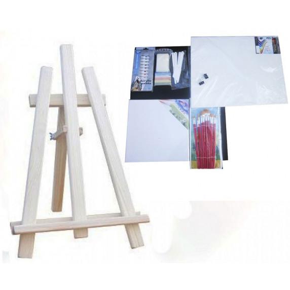 Maliarsky stojan stolový sada Inlea4Fun S60-3 - naturálny