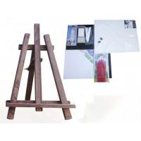 Maliarsky stojan stolový sada Inlea4Fun S60 WYP3 PALISANDER - tmavohnedý