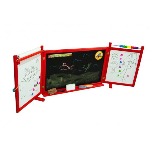 Inlea4Fun detská magnetická školská tabuľa FIRST SCHOOL červená