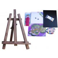 Inlea4Fun S60-2 Maliarsky stojan stolový sada - tmavohnedý