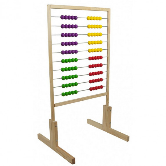 Inlea4Fun drevené počítadlo s farebnými guličkami 120 cm