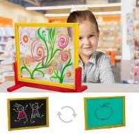 Inlea4Fun detská tabuľa na stôl s bezpečnostným sklom + obojstranná doska zelená