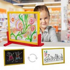 Inlea4Fun detská tabuľa na stôl s bezpečnostným sklom + obojstranná doska biela Preview