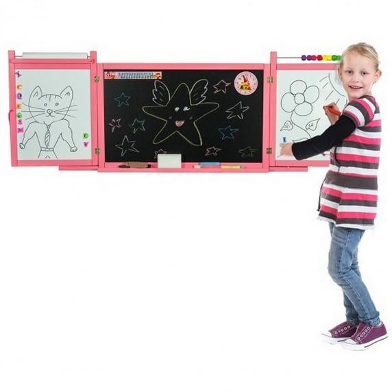 Inlea4Fun detská magnetická školská tabuľa FIRST SCHOOL ružová