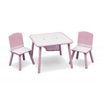 Detský stolík so stoličkami ružový