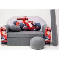 Detská pohovka Auto F1 sivá