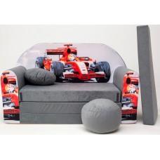 Detská pohovka Auto F1 sivá Preview