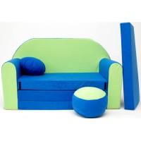 Detská pohovka modro-zelená