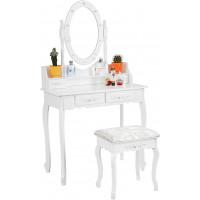 Toaletný stolík so zrkadlom a taburetkou Aga MRDT03