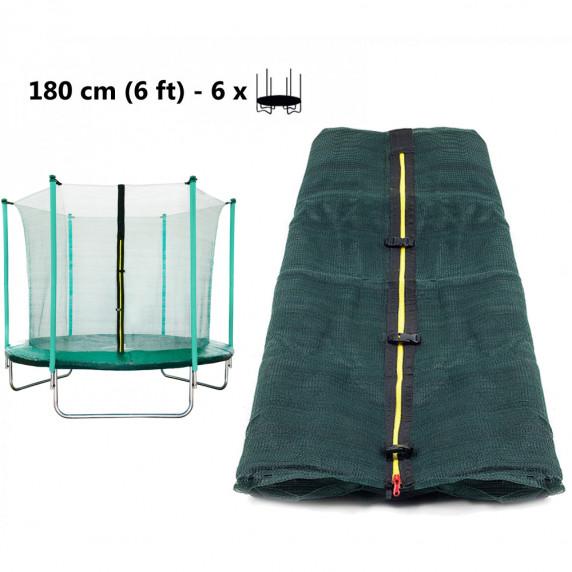 Vnútorná ochranná sieť na trampolínu s celkovým priemerom 180 cm na 6 tyčí AGA  - tmavozelená