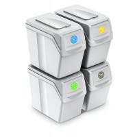 Odpadkové koše SORTIBOX 4 x 20 l Aga - biele