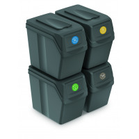 Odpadkové koše SORTIBOX 4 x 20 l Aga - sivé