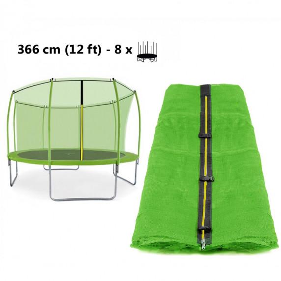 AGA vnútorná ochranná sieť na trampolínu s celkovým priemerom 366 cm na 8 tyčí (kruh) - svetlozelená