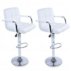 Aga Barová stolička s operadlom 2 kusy MR2010WHITE - Biela Preview