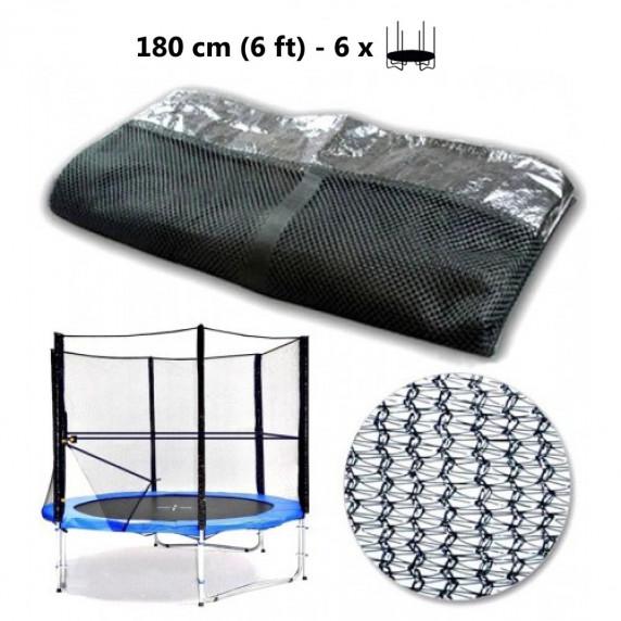 AGA ochranná sieť na trampolínu s celkovým priemerom 180 cm na 6 tyčí - čierna