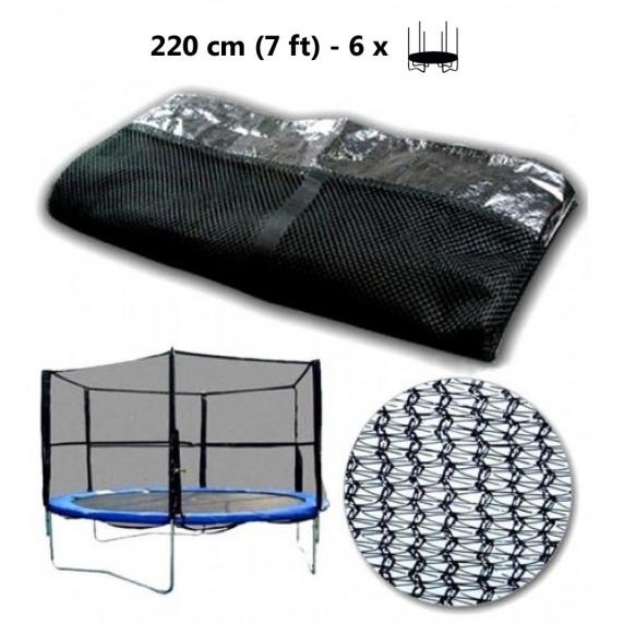 Ochranná sieť na trampolínu s celkovým priemerom 220 cm na 6 tyčí AGA - čierna